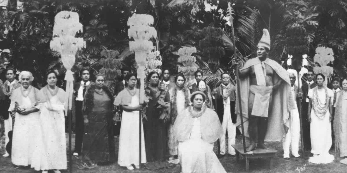 Hamana Kalili (right) as King Kamehameha in the Hukilau royal court (late 1940s or early 1950s).