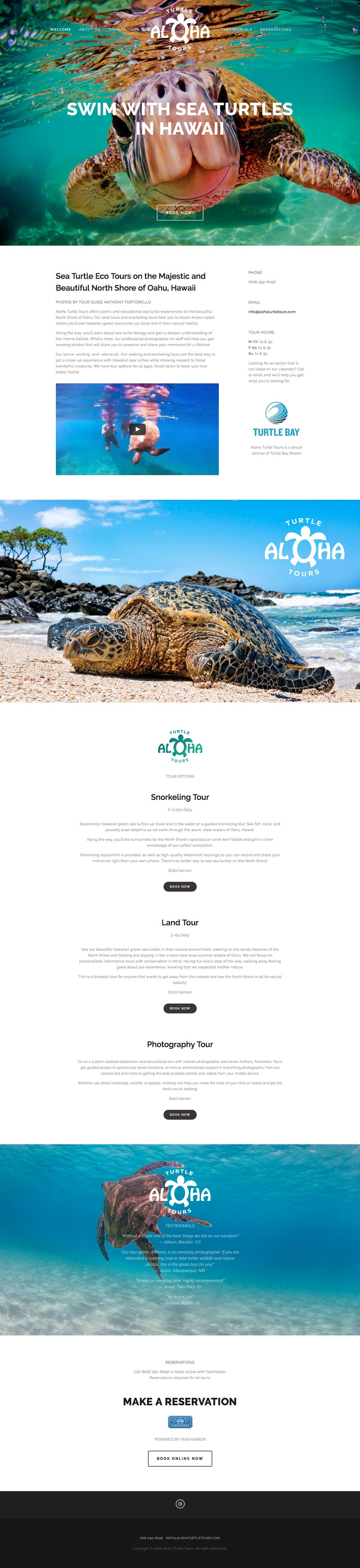 Aloha Turtle Tours home page screenshot 2016-07