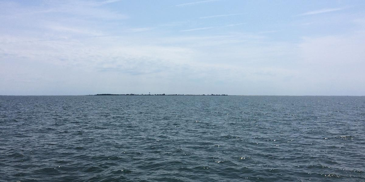 Approaching Tangier Island aboard the Chesapeake Breeze from Reedville, VA